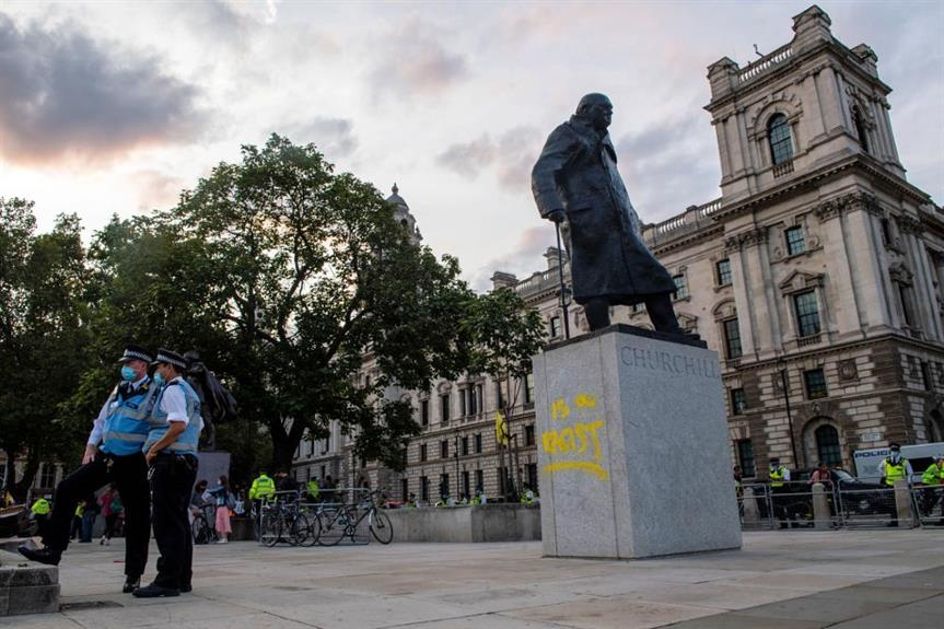 The statue of Winston Churchill in Whitehall, which was attacked last September. New rules to protect statues are due this spring. Image: Getty