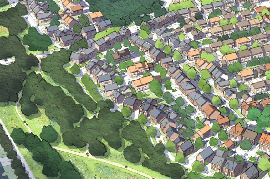 An artist's impression of plans for 430 homes in Saltash, Cornwall. Image: Barratt Homes/David Wilson Homes