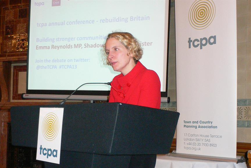 Shadow housing minister Emma Reynolds at the TCPA conference
