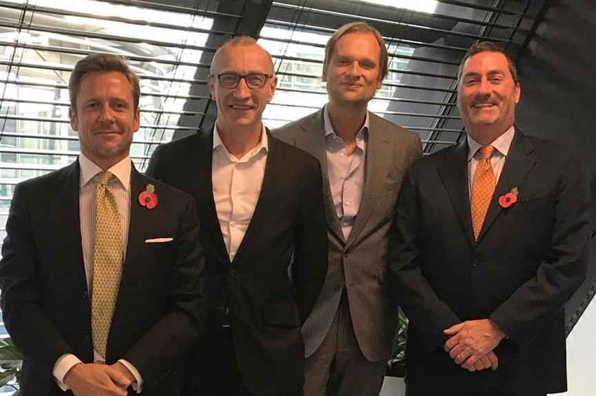 (L-R) Jason Sibthorpe, Principal and U.K. Managing Director, Avison Young; Gerry Hughes, CEO, GVA; Andreas Aschenbrenner, Partner at EQT Partners; Mark Rose, Chair and CEO, Avison Young