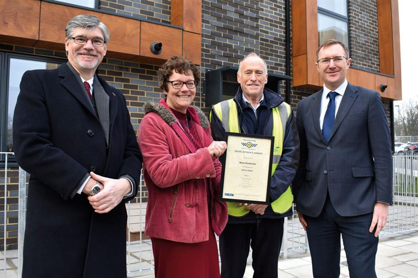 (Left to right): PC Mark Headley, designing out crime officer, Metropolitan Police; Caroline Field, regeneration manager, Orbit; Ted Welch, project manager, Wates Residential; and Sergeant Matt Coe, Metropolitan Police