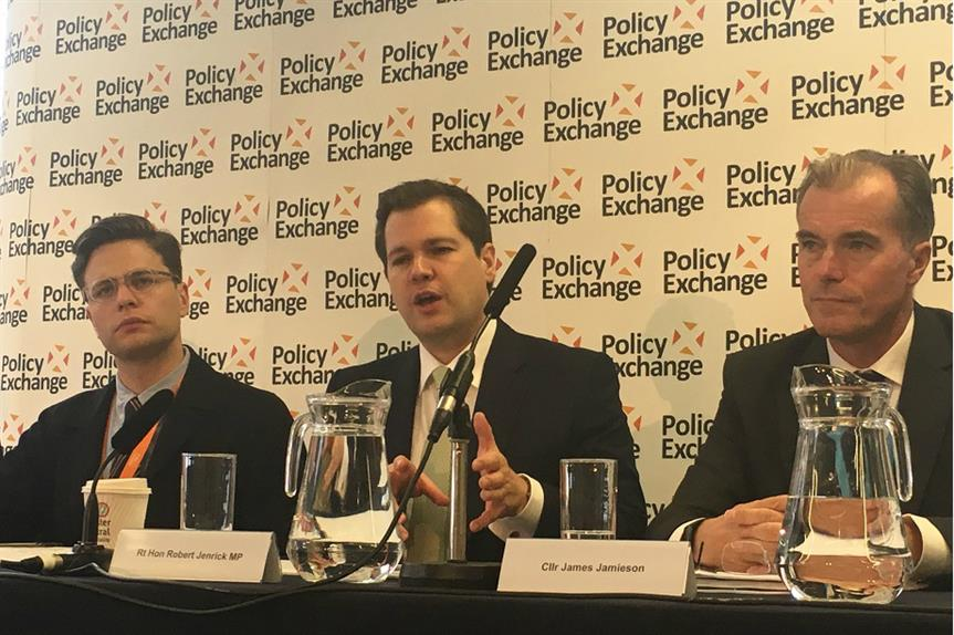 Housing secretary Robert Jenrick speaking at the Policy Exchange event this morning