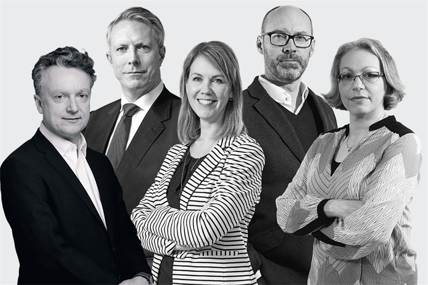 Top five highest-rated individual solicitors (from left): Ricketts, Gilbey, Dutch, Good, Kaur