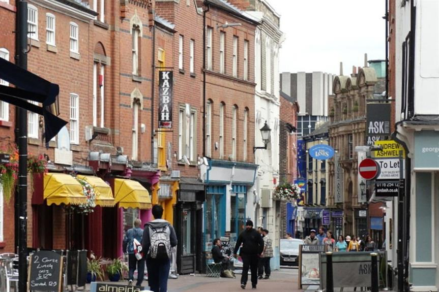 Town centre shops: experts warn protecting them may become harder. Central Leicester - image: Colin Park/ geograph (CC BY-SA 2.0)