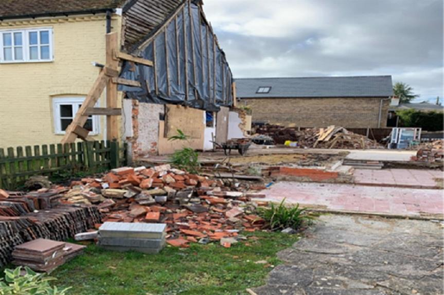 The demolished cottage in East Meon, East Hampshire. Pic: East Hampshire Council