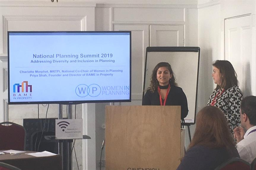 Priya Shah of BAME in Property (left) and Charlotte Morphet of Women in Planning speaking at yesterday's National Planning Summit. Pic: Gilian Macinnes, Twitter