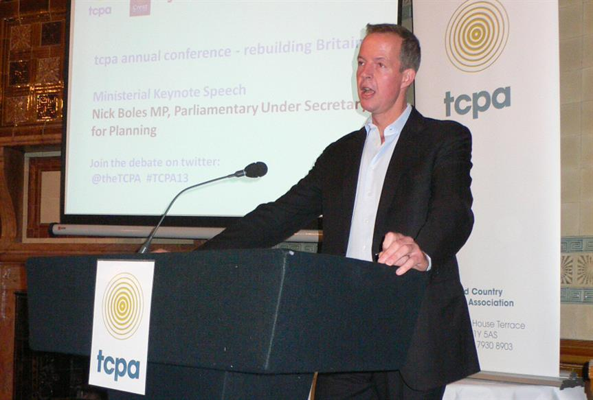 Planning minister Nick Boles speaking at the TCPA conference