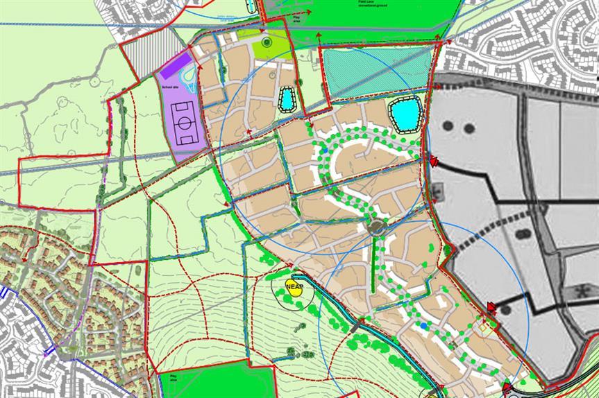 A masterplan image of the Snelsmoor Grange scheme (pic credit: Bellway)