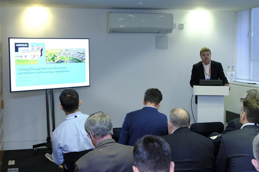 Matthew Spry, senior director at Lichfields, speaking at the Planning for Housing conference yesterday