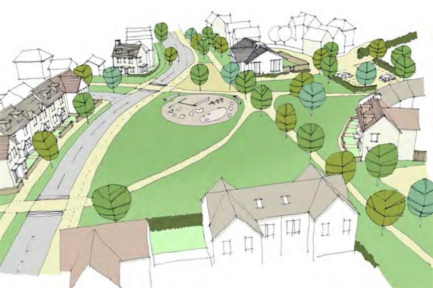 An artist's impression of plans for 370 homes near Thornbury. Image: Bovis Homes