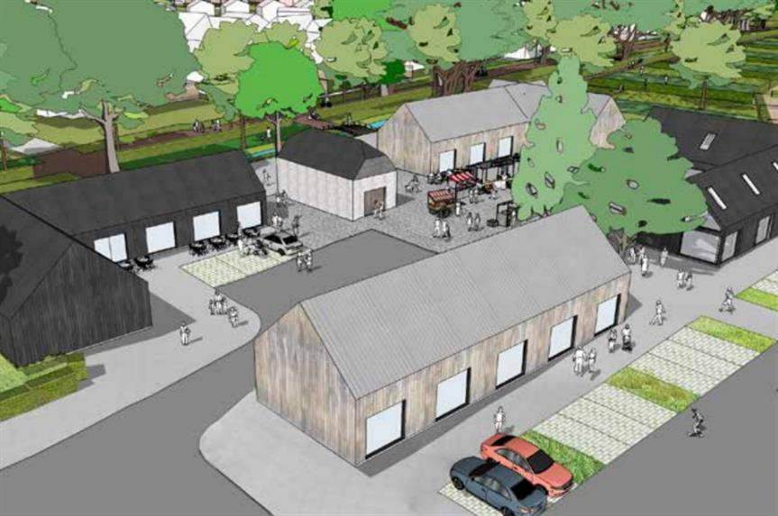 Plans for a community centre within a proposed Eastbourne urban extension. Image: The Vine Family and the University of Brighton