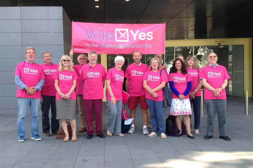 Winslow 'Yes' vote campaigners. Pic: Winslow Town Council