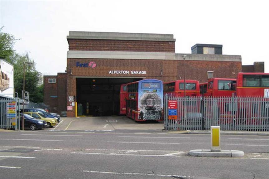 Alperton Bus Depot (pic: cc-by-sa/2.0 - © Nigel Cox - geograph.org.uk/p/795448)