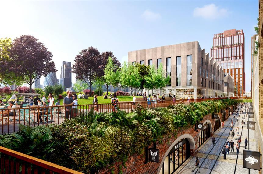 A visualisation of the revised Bishopsgate Goodsyard development