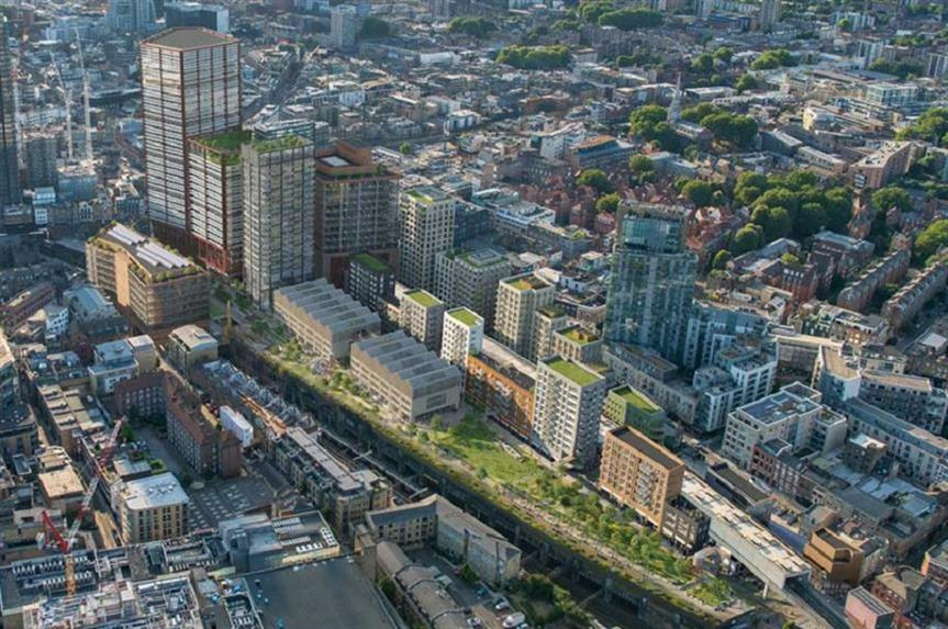 A visualisation of the finished Bishopsgate Goodsyard scheme. Pic: Hammerson and Ballymore joint venture