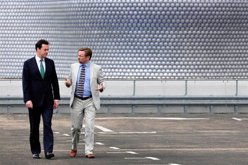 Chancellor George Osborne, with Birmingham City Council's former strategic director of development, Mark Barrow, announces the government's approval of the Birmingham City Centre Enterprise Zone bid in 2011 (picture BCC News Room)