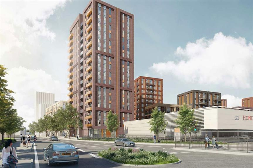 A visualisation of the finished development at the former Colindale Telephone Exchange in Barnet, north London