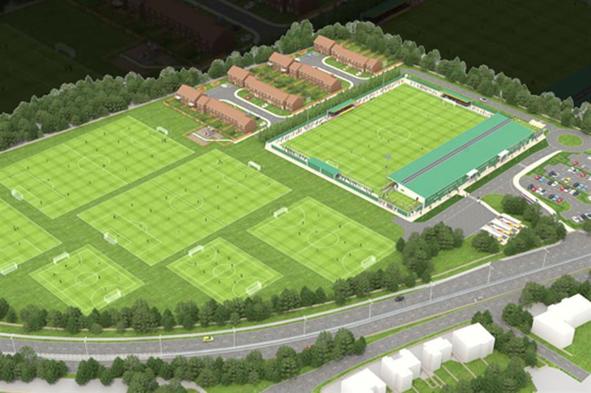 A visualisation of the finished stadium development