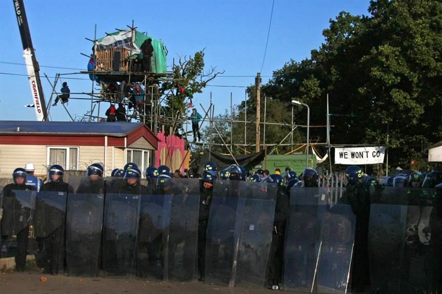 Dale Farm: riot police block off the entrance to Dale Farm in 2011 (picture by Susan Craig-Greene)