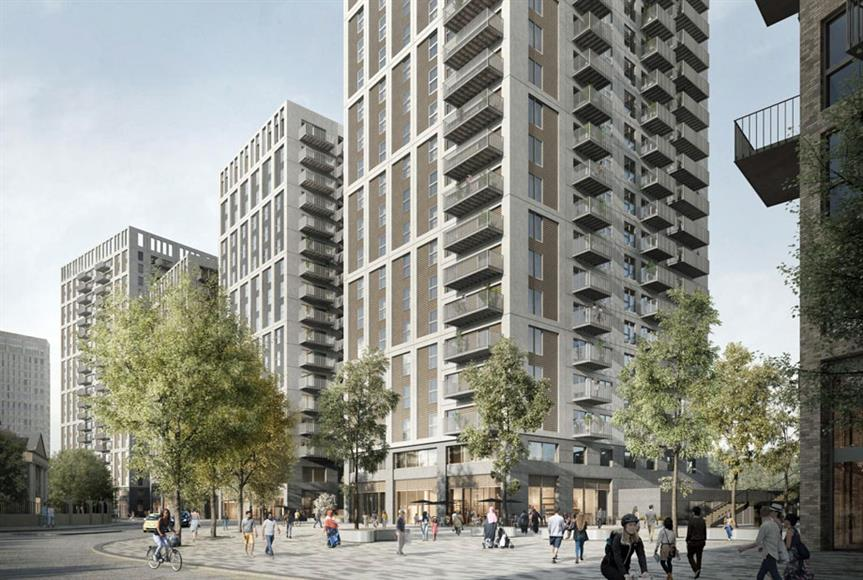 A visualisation of the mixed use high rise scheme in Southall