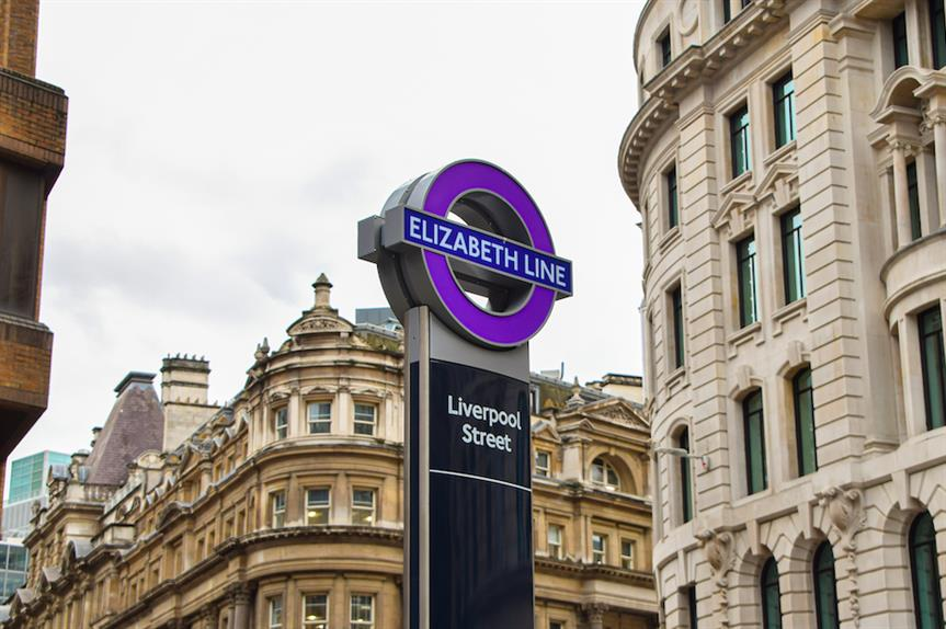 The Elizabeth Line sign at Liverpool Street (Pic: Getty)
