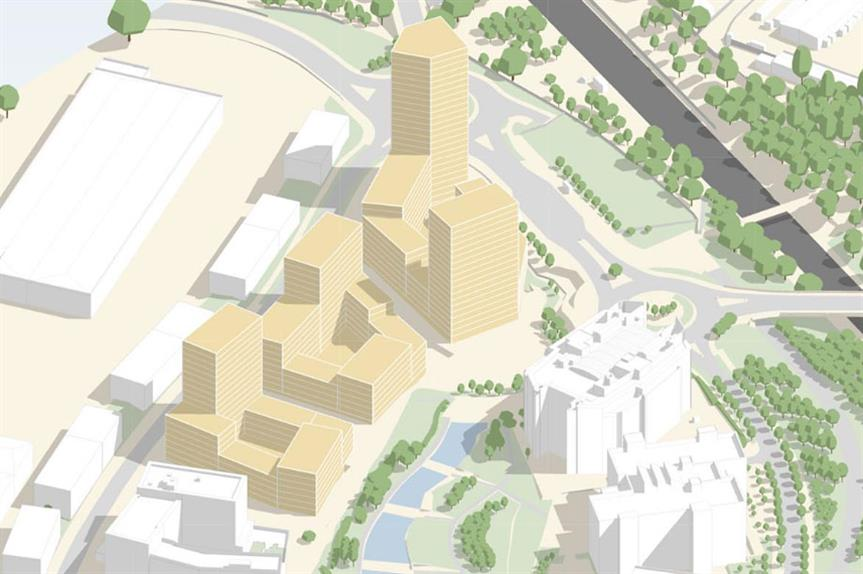 A visualisation of the finished First Central development