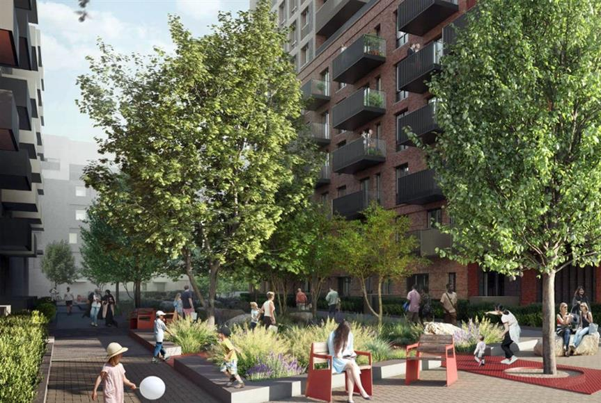 CGI of proposals for Priory Park Estate, Ealing. Image by Catalyst Housing