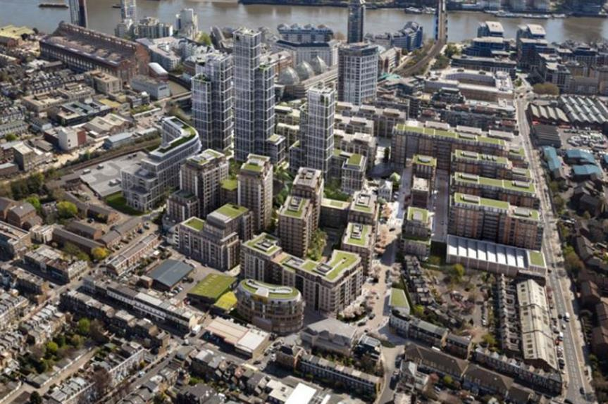 A visualisation of the finished development at the Fulham Gasworks site