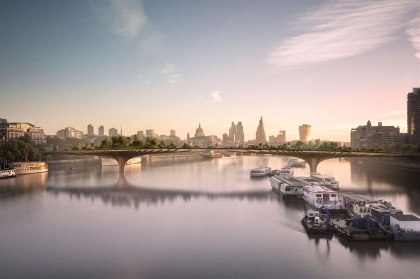Garden Bridge: scheme would link Temple with South Bank (pic Garden Bridge Trust)