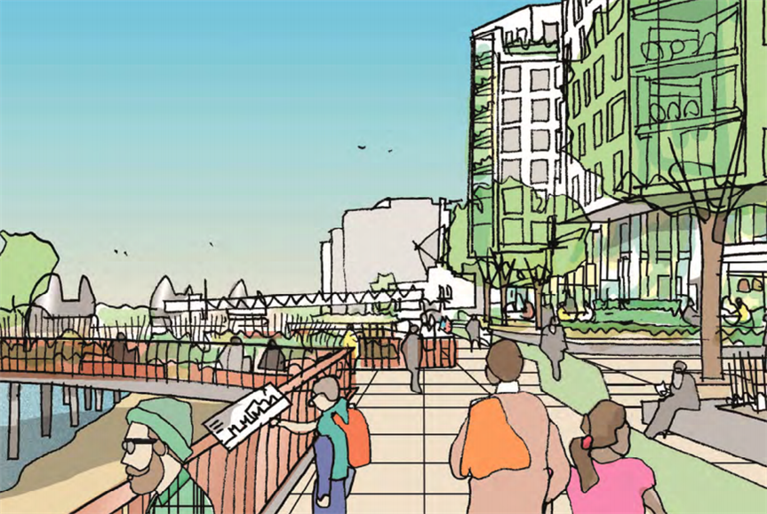 Preliminary sketch of Charlton Riverside proposals. Image by Hyde Housing