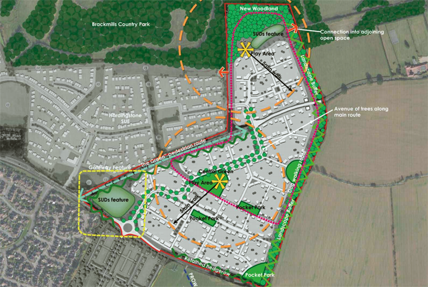 Plan showing the new development on the edge of Northampton. Image by Martin Grant Homes and Harcourt Developments