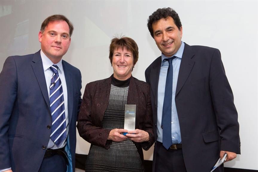 Awards host Paddy O'Connell (left) with the London Borough of Hounslow's Marilyn Smith and Amir Salarkia