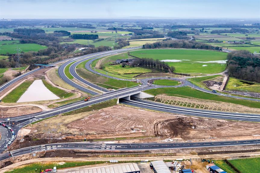 A556 Knutsford to Bowdon: major infrastructure project at nothern Bowden creating dedicated links to the M56 and roundabout links to other local road networks