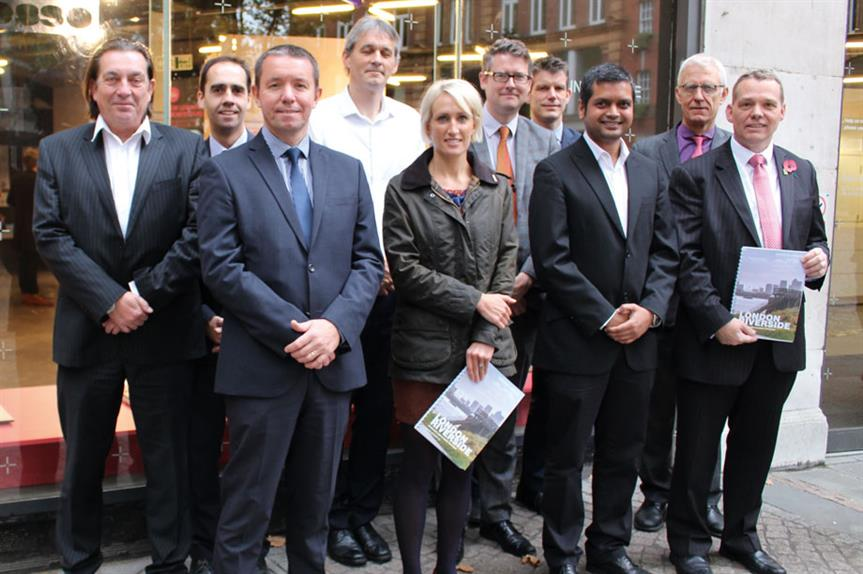 Framework producers: team including the GLA's Colin Wilson (back row, third from left), Havering's Patrick Keyes (front row, left), GLA planner Natalie Gentry (front, second left) and Barking & Dagenham's Darren Rodwell (front, right)