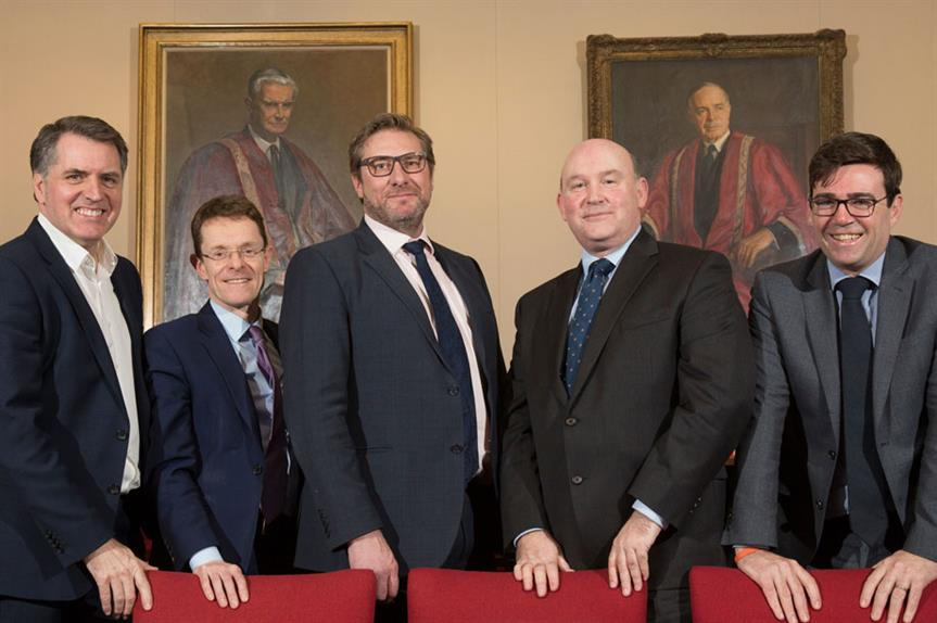 Left to right: Steve Rotheram, Andy Street, mayor of Cambridgeshire and Peterborough James Palmer (not a signatory to the letter), Tim Bowles, and Andy Burnham