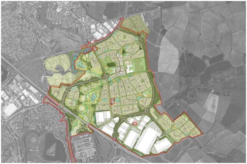 The proposed site plan for Milton Keynes East (Pic: Lichfields)