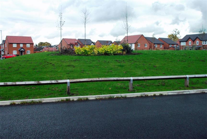 The 'incongruous' mound at the housing estate in Stockport