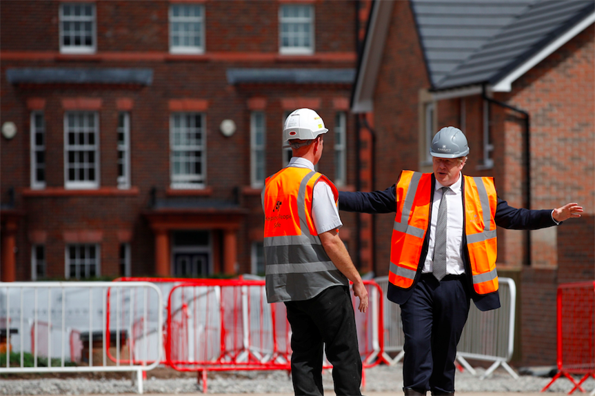 Boris Johnson visits a construction site in August 2020 (Pic: Getty)