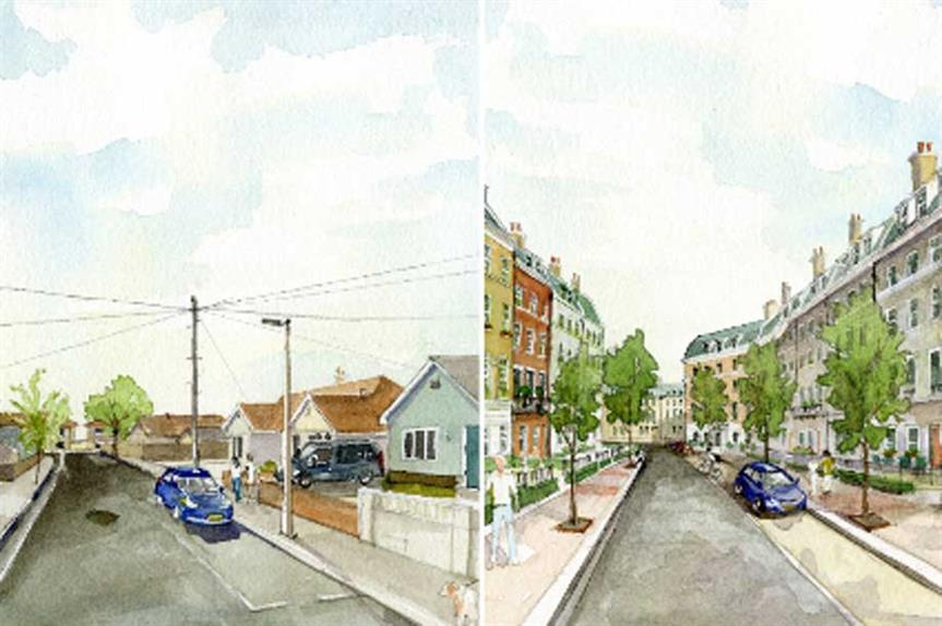 A suburban street before and after a 'street plan' redevelopment (pic: Michael DeMaagd Rodriguez)