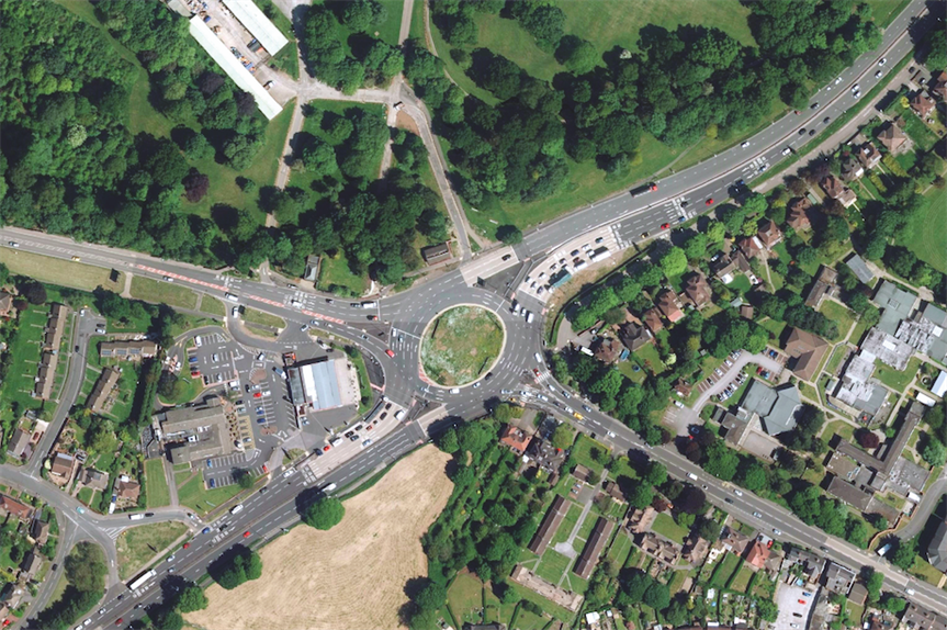 Aerial shot of part of the proposed scheme at Markeaton (Pic: Highways England)