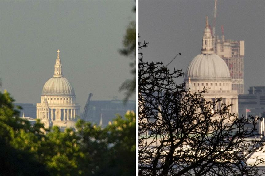 St Paul's: protected view from King Henry's Mound before and after construction of Stratford tower (image credit: Patrick Eagar and Paula Redmond)