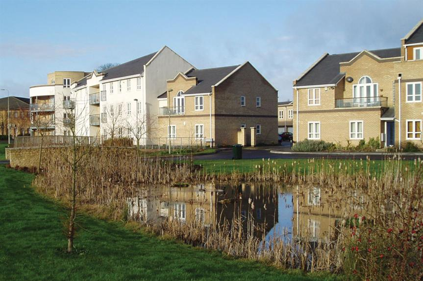 Attenuation pond: included in Bicester Fields housing scheme, Oxfordshire