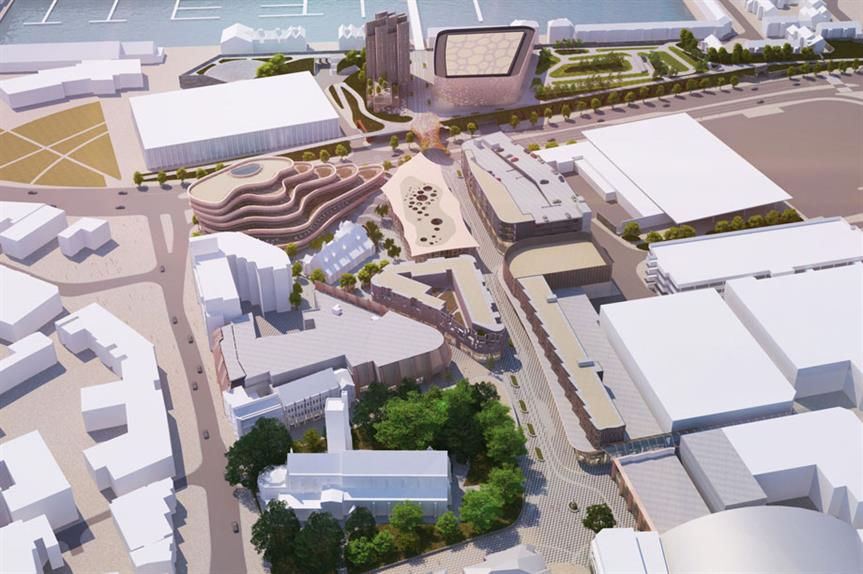 An artist's visualisation of the finished Swansea Central scheme