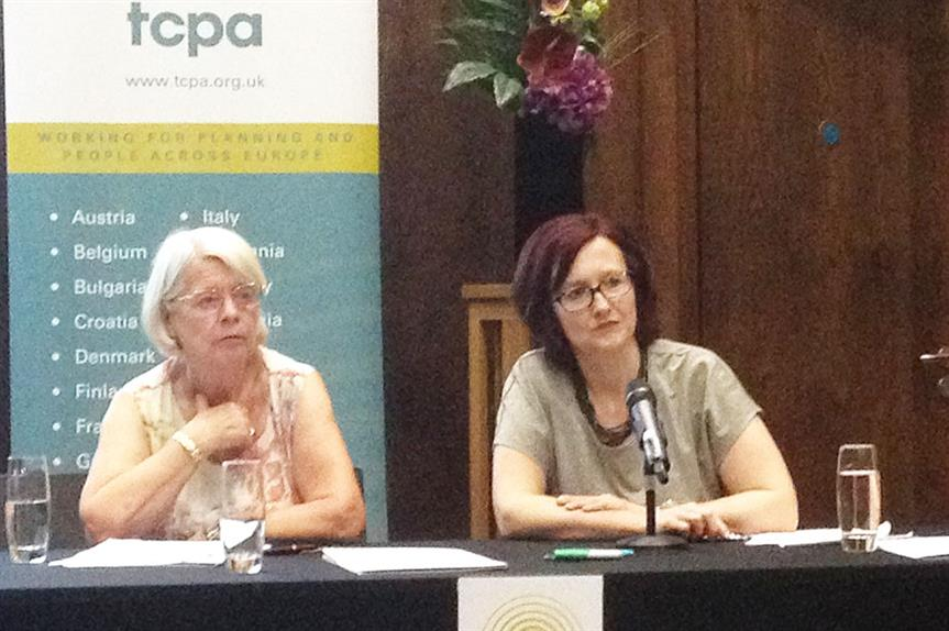Christine Whitehead (left) and Mary Parsons, group director - Placemaking & Regeneration at Places for People at the TCPA's Sir Frederic J Osborn lecture last night