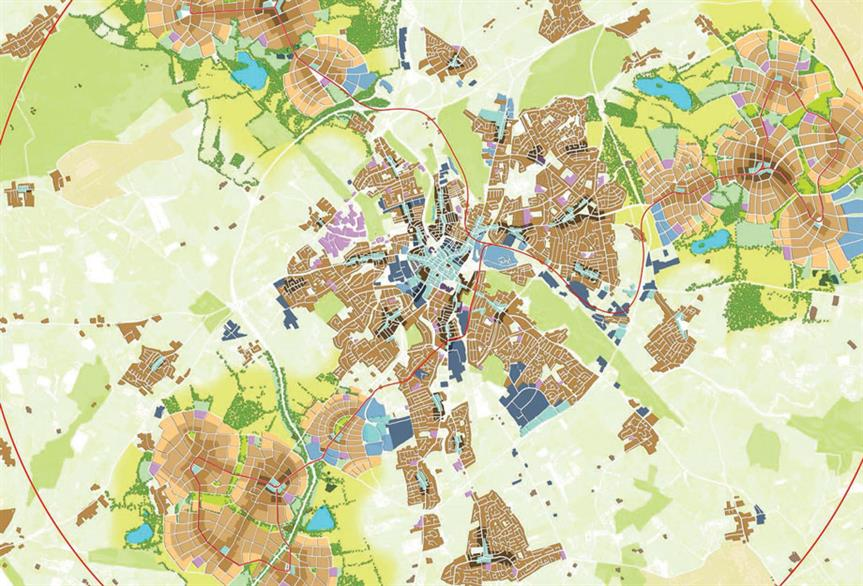The winning Uxcester new town proposal, in which a garden city grows up around an existing settlement