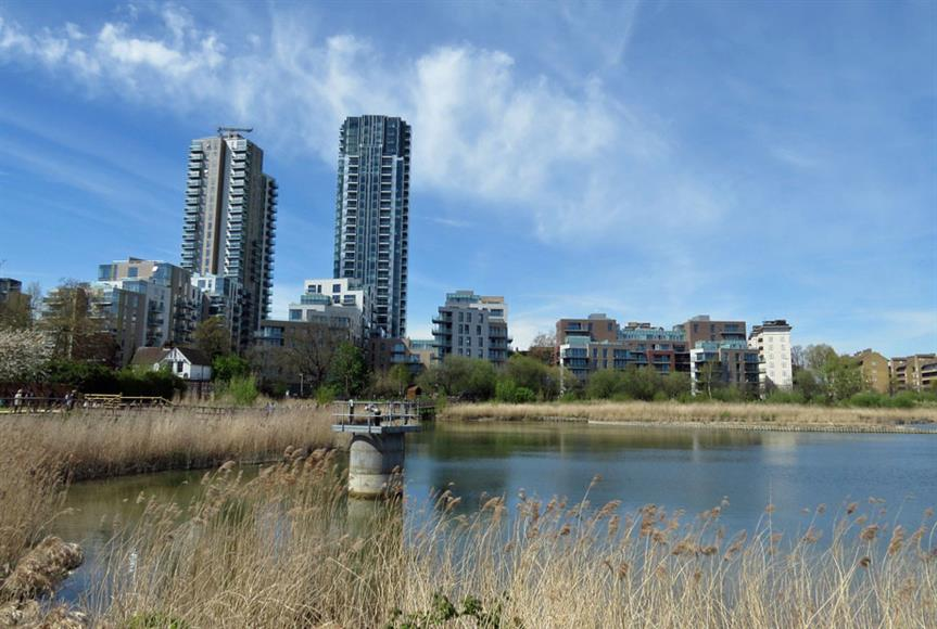 Wetlands at Woodberry Down development in north London. Image by Nick, Flickr