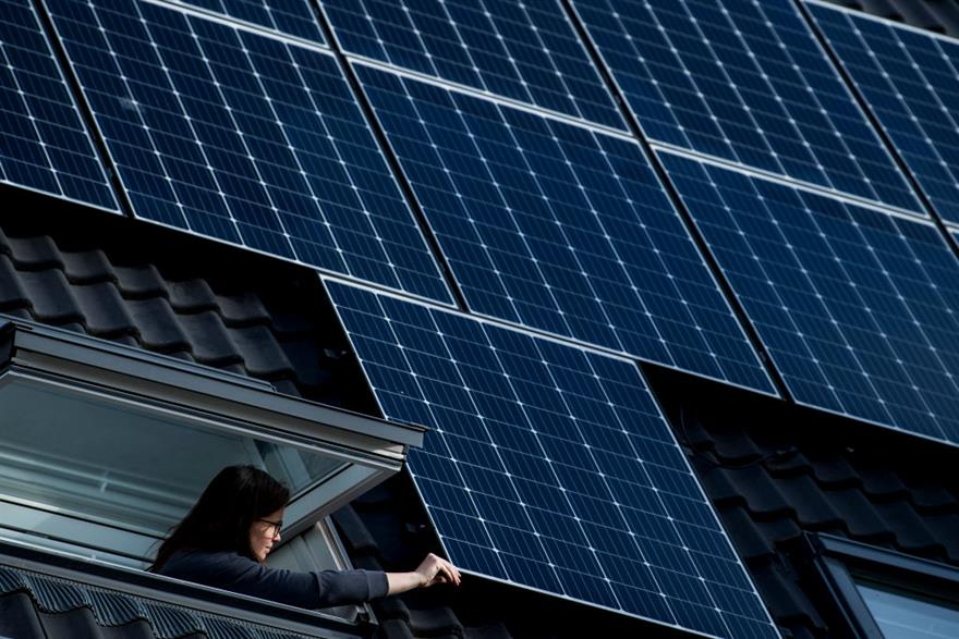 Solar panels on a roof in Mechelen, February 2021. Early analysis of member states' recovery spending shows they are heavy on clean energy, but light on biodiversity projects. Photo: Belga Photo / Jasper Jacobs / Belga Mag / AFP via Getty Images