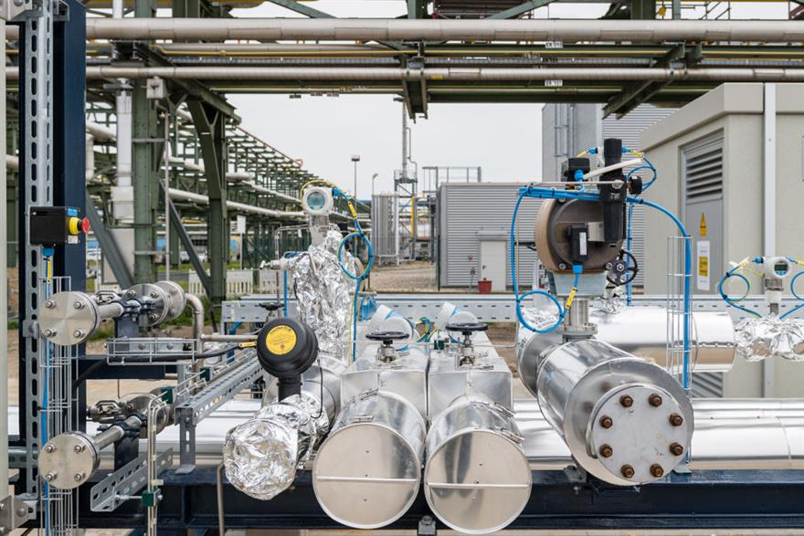 An electrolyser under construction in Leuna, eastern Germany, earlier this year. Renewably sourced hydrogen has been included in the RED proposal. Photo: Jens Schlueter/AFP via Getty Images