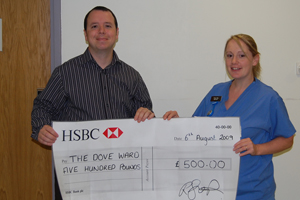 Venues Event Management's Jason Cardy presents Swindon's Great Western Hospital fundraising proceeds