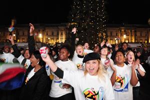 South African Tourism celebrates the 2010 Fifa World Cup draw in Trafalgar Square